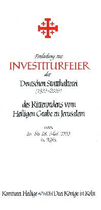 Investitur Ritterorden von heiligen Grab